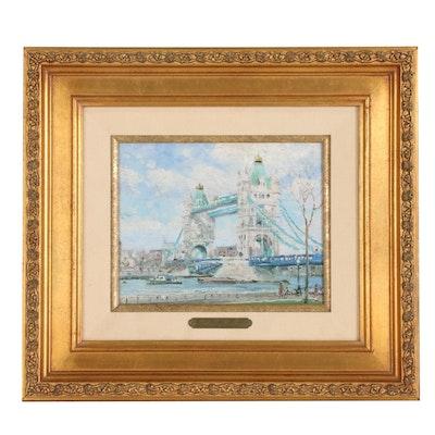 "Thomas Kinkade Offset Lithograph ""Tower Bridge, London"""