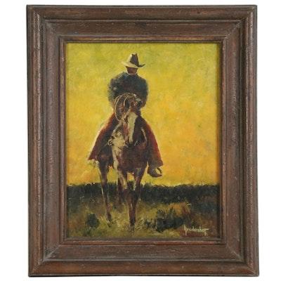 Giclée after Rex Hendershot of Cowboy on Horseback