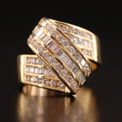 18K Gold 1.78 CTW Diamond Bypass Ribbon Ring