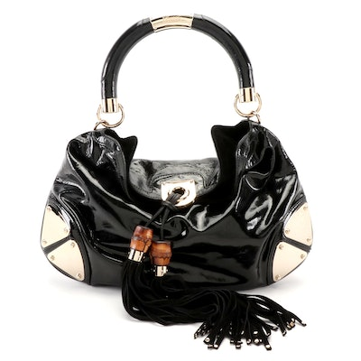 Gucci Babouska Indy Medium Top Handle Bag in Black Patent Leather