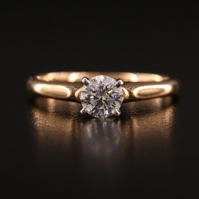 14K O.50 CT Diamond Solitaire Ring With Platinum Head