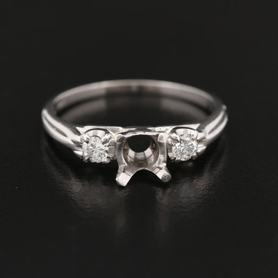 18K Diamond Semi Mount Ring