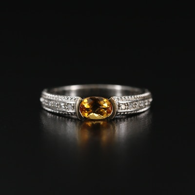 Sterling Silver Citrine and Diamond Ring with 14K Accent