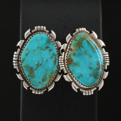 Southwestern Sterling Turquoise Freeform Earrings