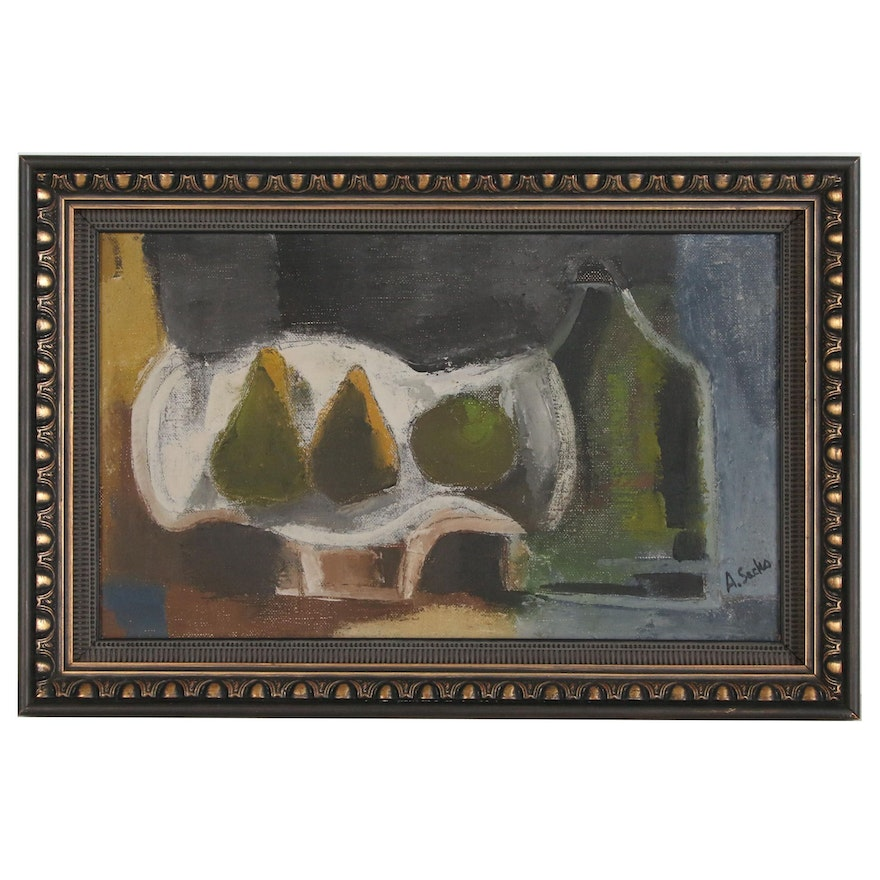 A. Sacko Abstract Still Life Oil Painting, Mid 20th Century