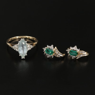 10K Gold Aquamarine and Diamond Ring with Emerald and Diamond Earrings