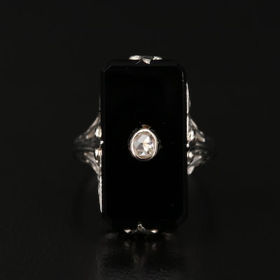 14K Gold Diamond and Black Onyx Filigree Ring