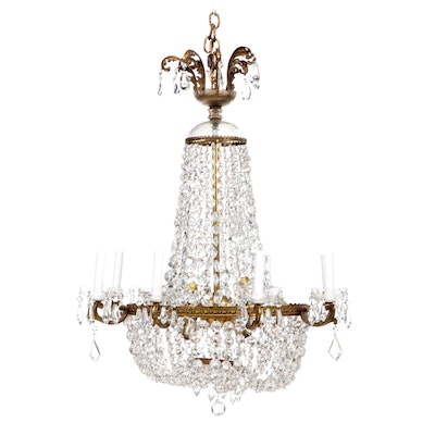 """Empire Style Gilt Metal and Crystal """"Sac à Perles"""" Chandelier"""