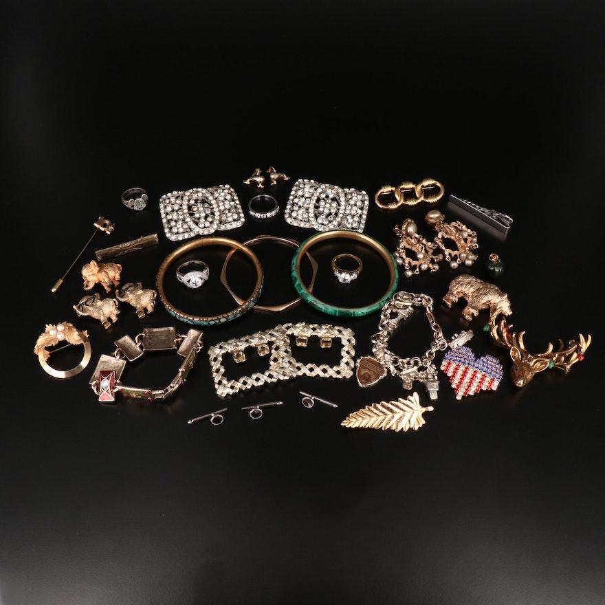 Jewelry Assortment Featuring Hattie Carnegie Chandelier Earrings