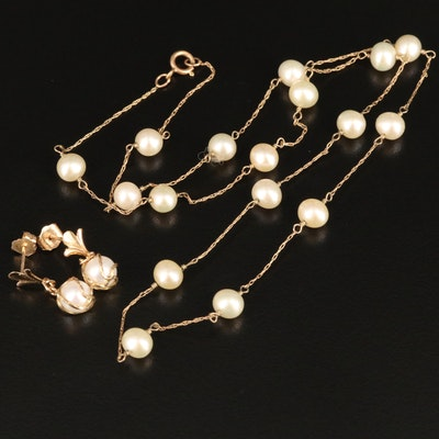14K Pearl Station Necklace and Dangle Earrings