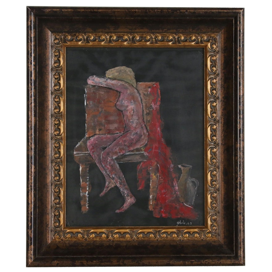Abstract Figural Oil Painting, 1963