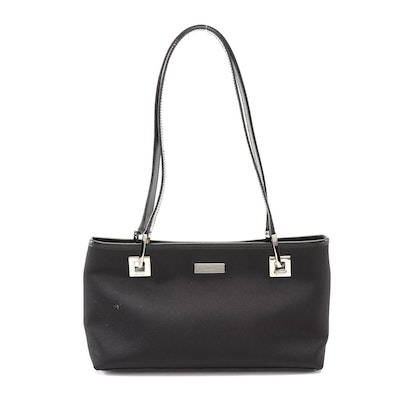 Gucci Small Shoulder Tote in Black Satin with Leather Trim