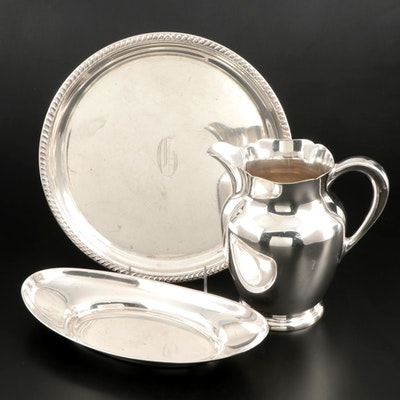 S. Kirk & Son Sterling Silver Pitcher with Other Sterling Silver Serving Trays