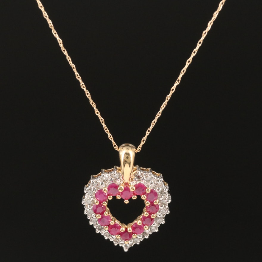 14K Ruby and Diamond Heart Pendant Necklace