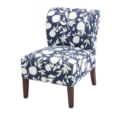 Target Company Blue and White Armless Side Chair with Floral Design