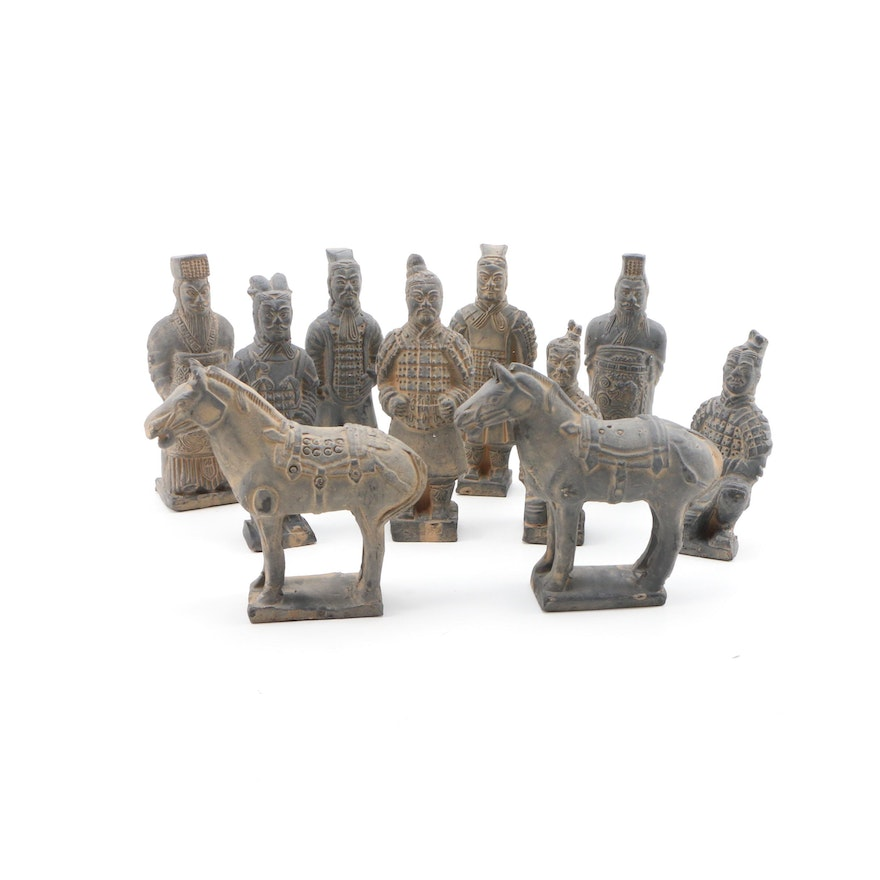 Replica Chinese Terracotta Soldiers and Horse Figurines, Mid-20th Century