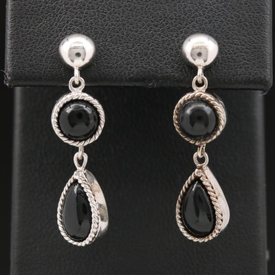 Sterling Black Onyx Drop Earrings