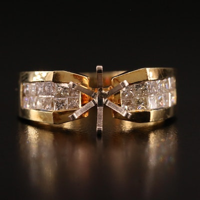 18K Gold Diamond Semi-Mount Ring