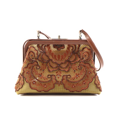 Isabella Fiore Embellished Floral Embroidered Lace and Leather Frame Handbag