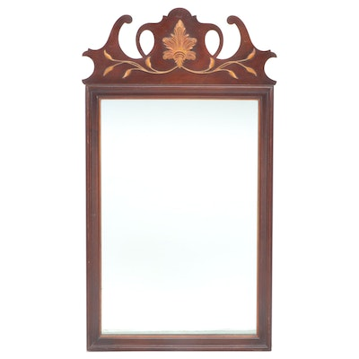 Chippendale Style Mahogany Veneer and Parcel Gilt Wall Mirror