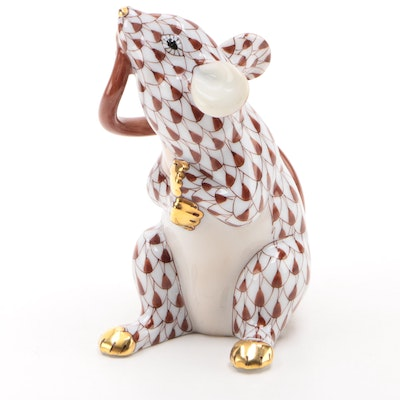 "Herend Chocolate Fishnet with Gold ""Mouse Eating Tail"" Porcelain Figurine"