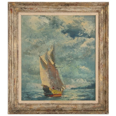 Arthur D. Thomas Nautical Oil Painting, 1957