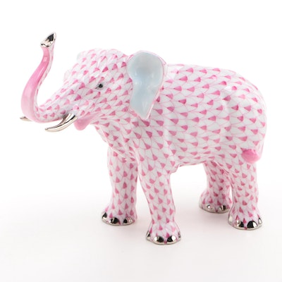 "Herend Raspberry Fishnet with Platinum ""Elephant Luck"" Porcelain Figurine"