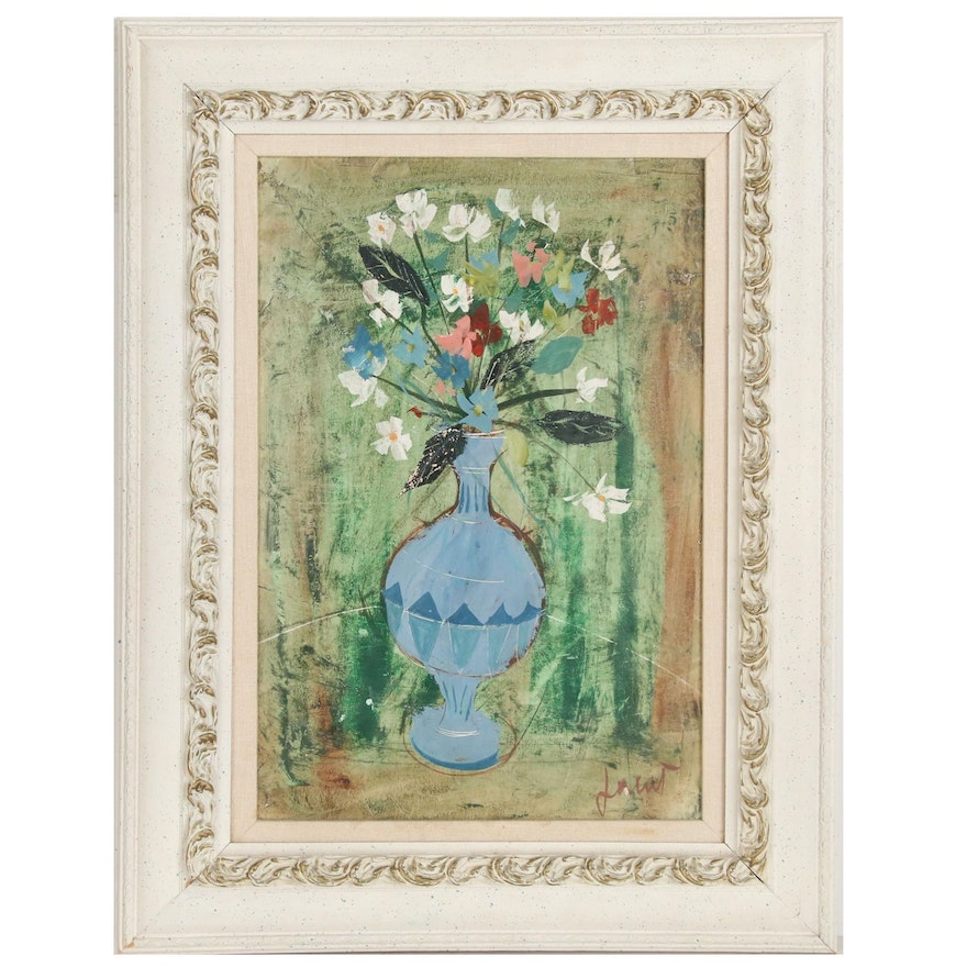 Martin Lowitz Gallery Floral Still Life Oil Painting, Mid-20th Century