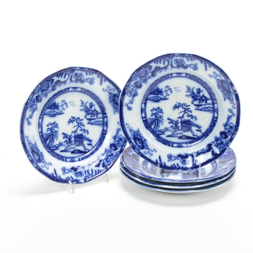 """Charles Meigh & Sons """"Hong Kong"""" Flow Blue Plates"""