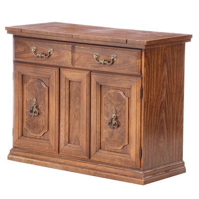 Grained Pecan Flip-Top Buffet Server, Mid to Late 20th Century