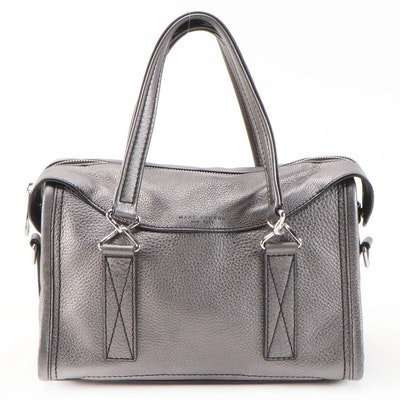 Marc Jacobs New York Pewter Metallic Pebbled Leather Two-Way Handbag