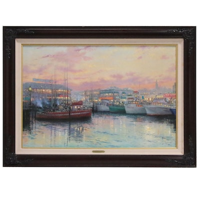 "Thomas Kinkade Offset Lithograph ""Fisherman's Wharf, San Fransisco"""