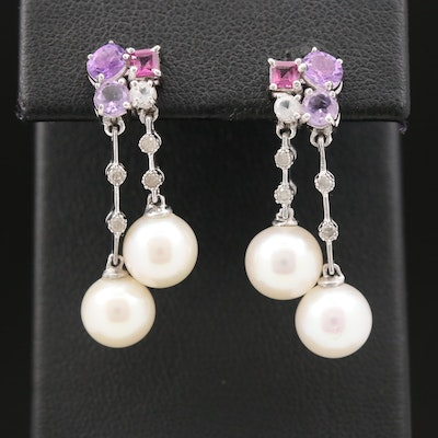 Sterling Drop Earrings with Pearl, Topaz, Amethyst and Garnet