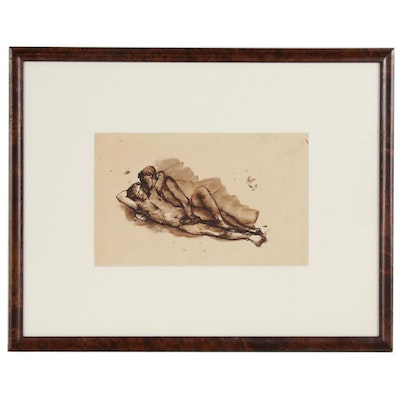 """Pavel Tchelitchev Sepia Ink Drawing """"Reclining Male Lovers"""""""