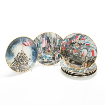Limited Edition Franklin Mint War Themed Collectors Plates with 24K Gold Trim