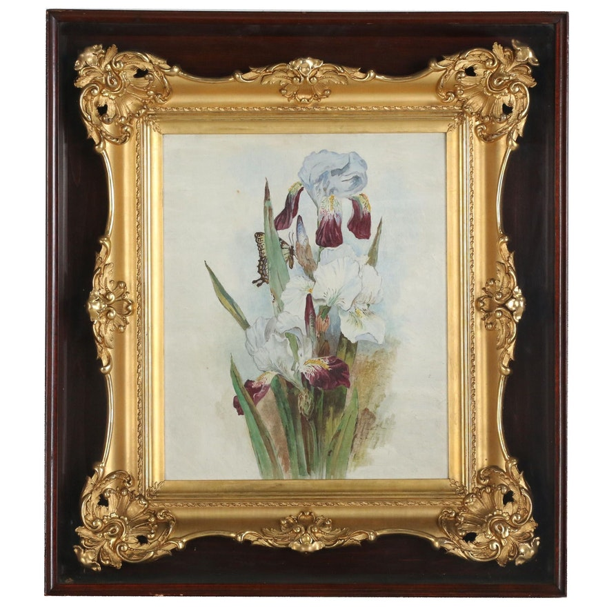 Orchid Still Life Oil Painting, Early-Mid 20th Century
