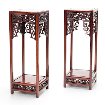 Chinese Carved Rosewood Display Stands