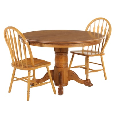 Bent & Bros. Oak Pedestal Dining Table and Chairs, Late 20th Century