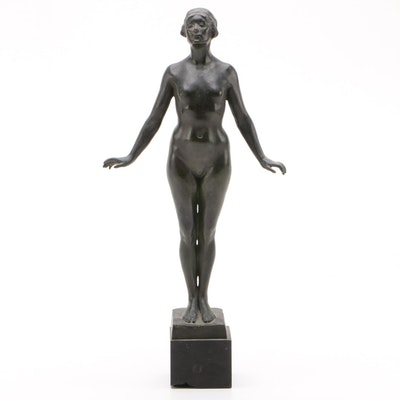 Muriel Evelyn-Smith Patinated Brass Female Nude Statuette