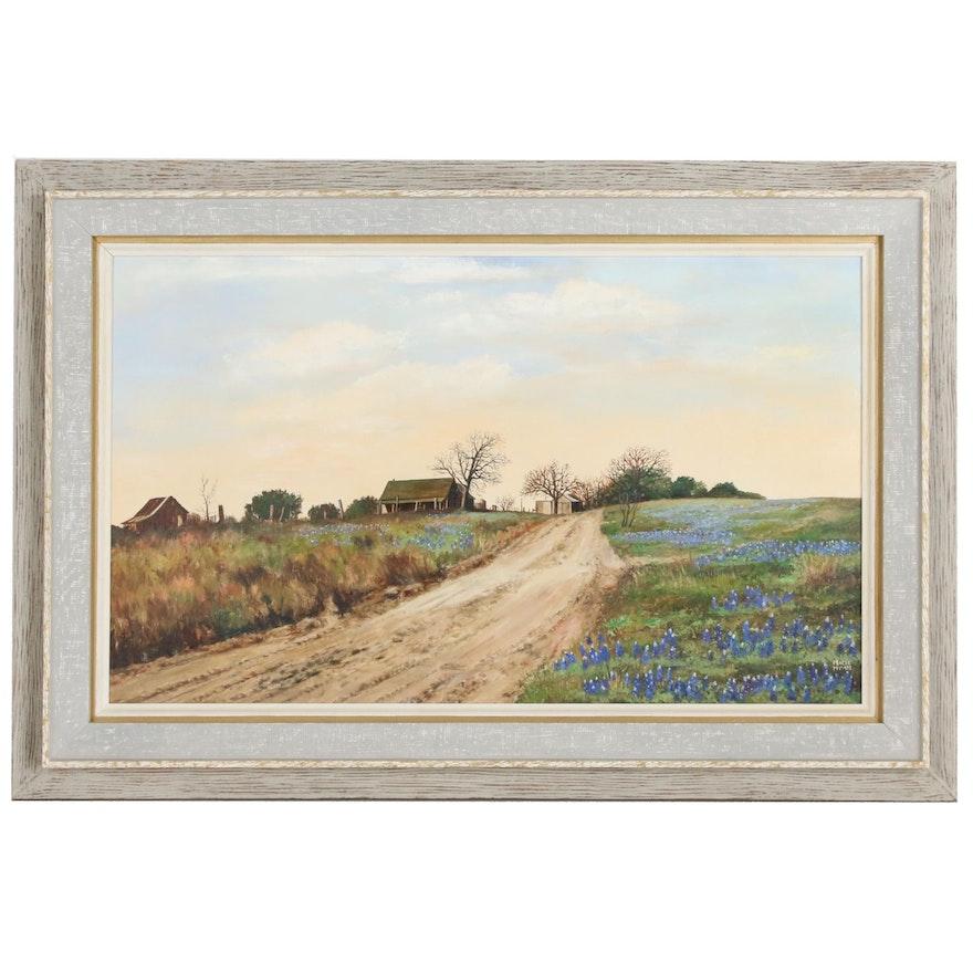 Macie Hyatt Country Landscape Oil Painting, Mid 20th Century