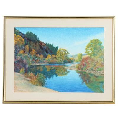 G. Breitenstein Landscape Pastel Drawing, 1990