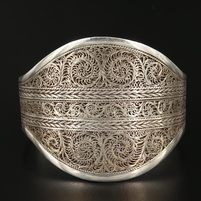 Vintage Indian Rajasthani Sterling Cuff Bracelet with Filigree Overlay