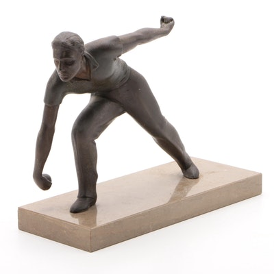 Cast Metal Lawn Bowler Sculpture on Marble Base, Mid-20th Century