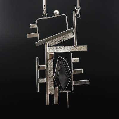 Aaron Rubinstein Sterling Black Onyx Geometric Pendant Necklace