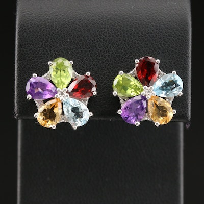Sterling Earrings with Topaz, Peridot, Amethyst, Garnet and Citrine