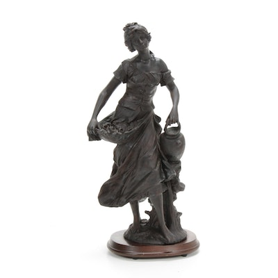 Flower Gatherer Resin Figurine on Wood Base