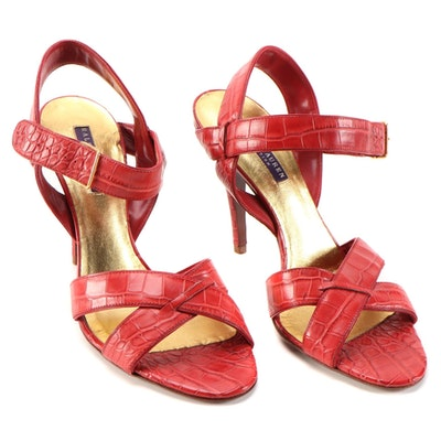 Ralph Lauren Purple Collection Red Alligator High-Heeled Sandals