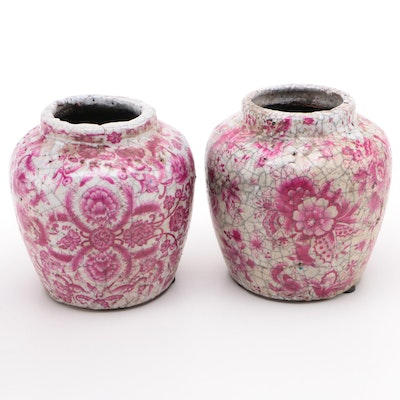 Pair of Transferware Ginger Jars