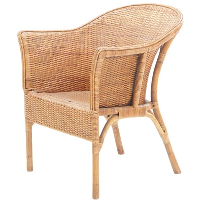 Natural Wicker Armchair, Late 20th Century