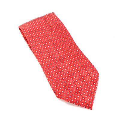 Ermenegildo Zegna Red Printed Silk Necktie